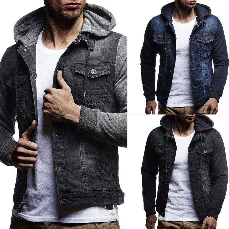 VERTVIE Brand New 2019 Men Jeans Jackets Men Hooded Autumn Denim Coat For Male High Quality Fashion Classic Solid Clothes