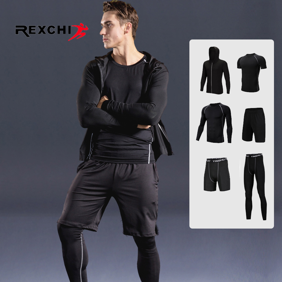 6 pcs/ensemble Hommes Sport Costume Compression Sous-Vêtements de Course En Plein Air Jogging Vêtements T-shirt Pantalon Gym Fitness Workout Collants Costume