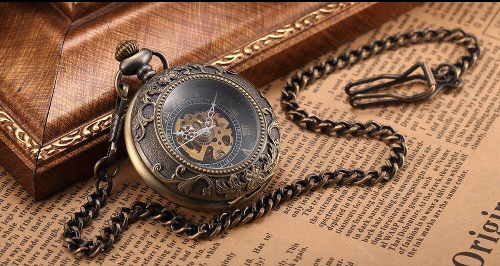 Steampunk Mechanical Pocket Watch Men Retro Pendant Watch Chain Vintage Necklace Mechanical Hand Wind Clock Pocket Watch Gifts 3
