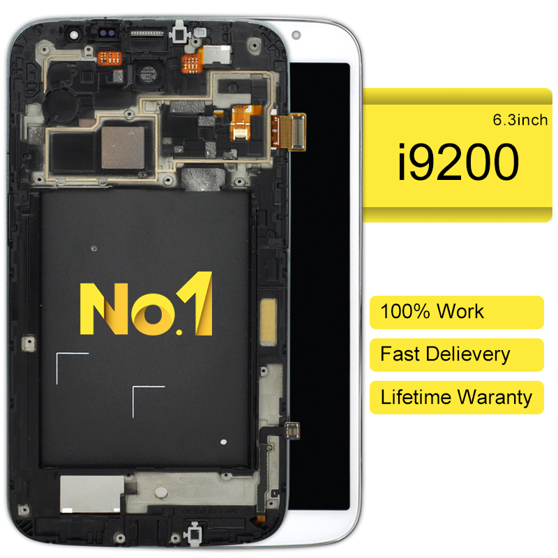 DHL 10pcs Replacement Black LCD Display Touch Screen Digitizer with Frame for Samsung Mega 6.3 GT-I9200 I9200