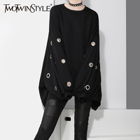 TWOTWINSTYLE 2017 Harajuku Sweatshirt For Women Black Pullovers Long Sleeve Tops Metal Ring Hollow Out Casual