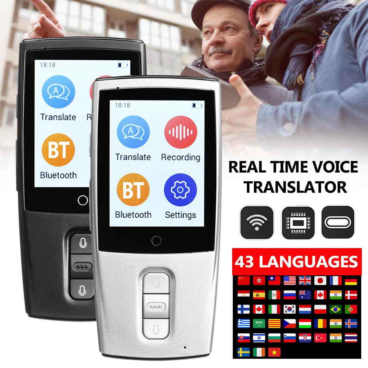 Portable Smart Voice Translator Two-Way Real Time WiFi 43 Languages Instant Traductor Translation for Learning Meeting Business