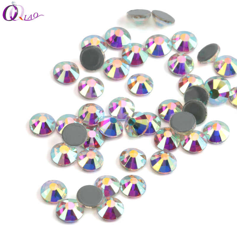 QIAO Hot fix Rhinestones Iron On Rhinestones For Clothes High Quality SS10 SS12 SS16 SS20 SS30 Crystal AB Hot back Glass Stone