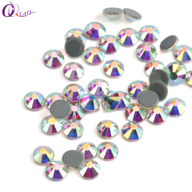 QIAO Hot fix Rhinestones Iron On Rhinestones For Clothes High Quality SS12 SS16 SS20 SS30 DMC Crystal AB Hot back Glass Stone