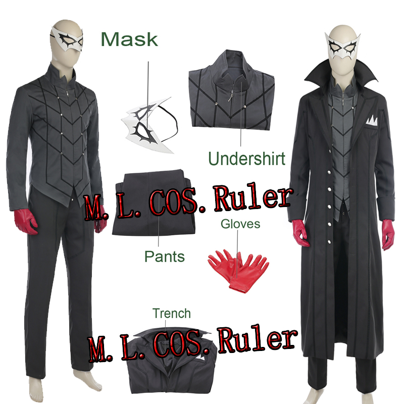 Persona 5 Joker Kaitou Cosplay Costume Game Cos Full Set Uniform Halloween Pary Cosplay Custom Made Free Shipping