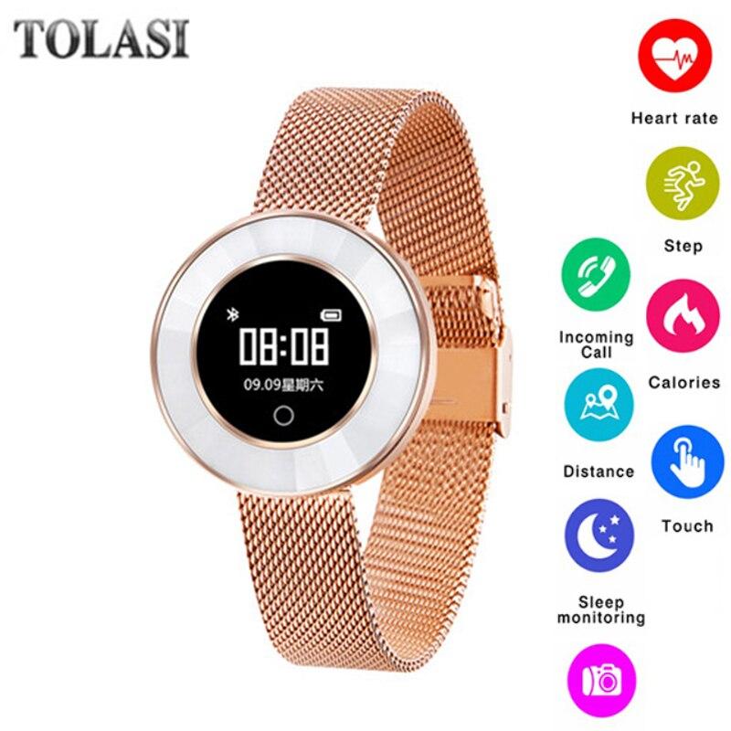 Fréquence cardiaque de sport smart watch femmes sang pression bluetooth 4.0 smartwatch relogio reloj étanche IP68 caméra véritable en cuir