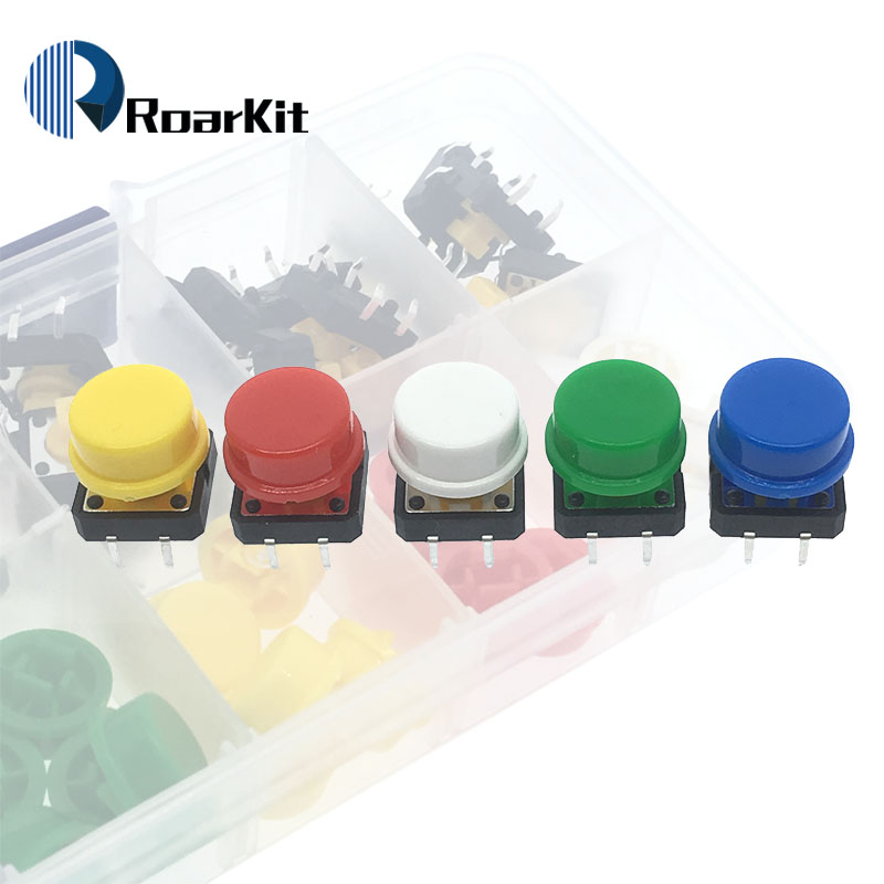 Button Cap Purposeful 25pcs Tactile Push Button Switch Momentary 12*12*7.3mm Micro Switch Button + Component Box For Arduino Be Novel In Design 5 Colors