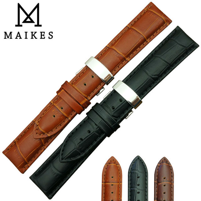 MAIKES Hot Sell Genuine Calf Leather Watch Strap band Butterfly Clasp 18mm 20mm 22mm Watchband For Casio