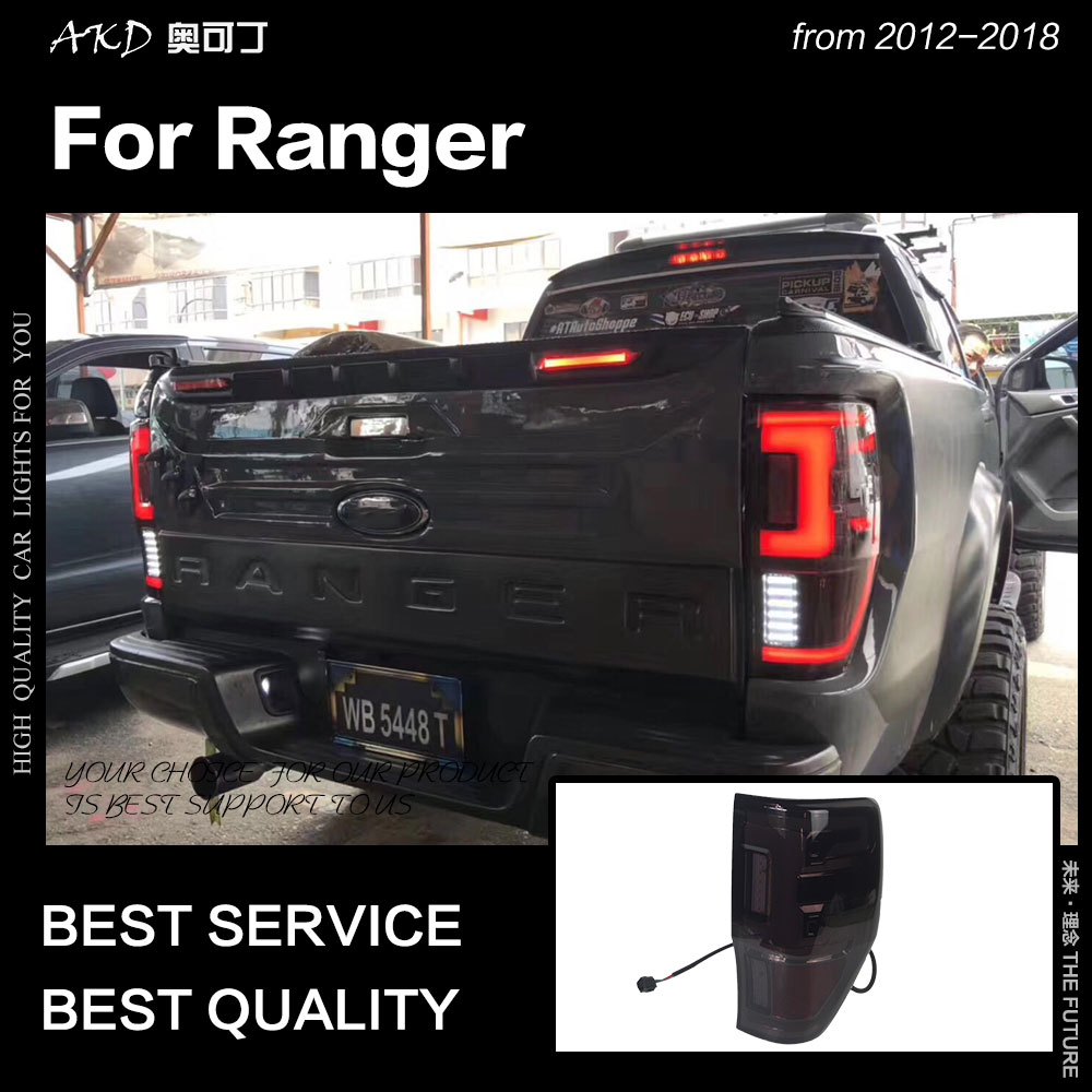 AKD Car Styling For Ford Ranger Tail Lights 2012-2018 Ranger T8 T6 Tail Lamp LED Tail Light DRL Brake Reverse Auto Accessories