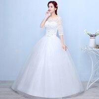 contracted Vintage White Long Wedding Dresses Lace Big yards Wedding Dress Elegant Hot drilling Bridal Wedding gown