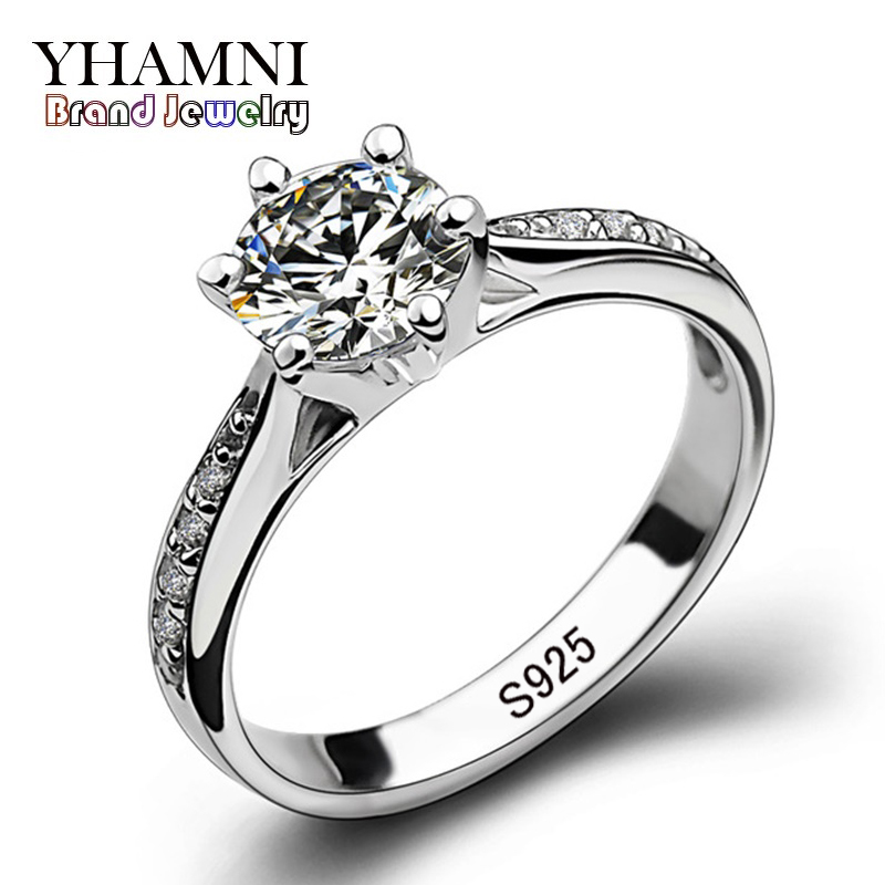 YHAMNI 100% Real Natural Solid Original 925 Silver Rings Luxury CZ Zircon in Engagement Rings Jewelry For Women J21