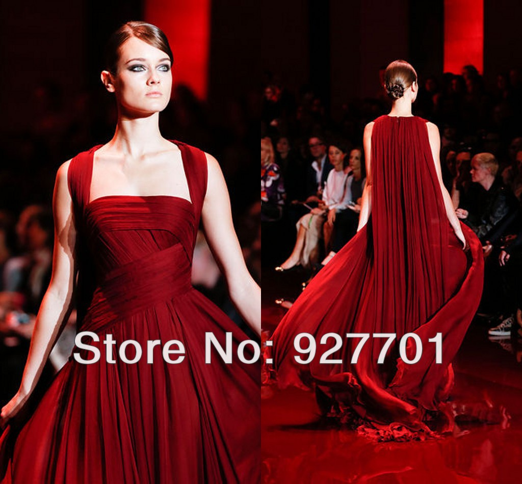 Elie Saab Haute Couture Red Chiffon Watteau Train Evening Dresses New Fashion 2017 Dress Party Long Special For Woman In From