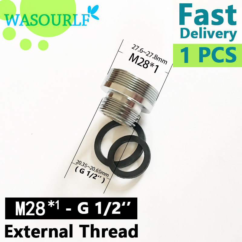 WASOURLF M28 Male External Thread Transfer G1/2 Inch Connector Adapter Shower Bathroom Kitchen Brass Faucet Accessories