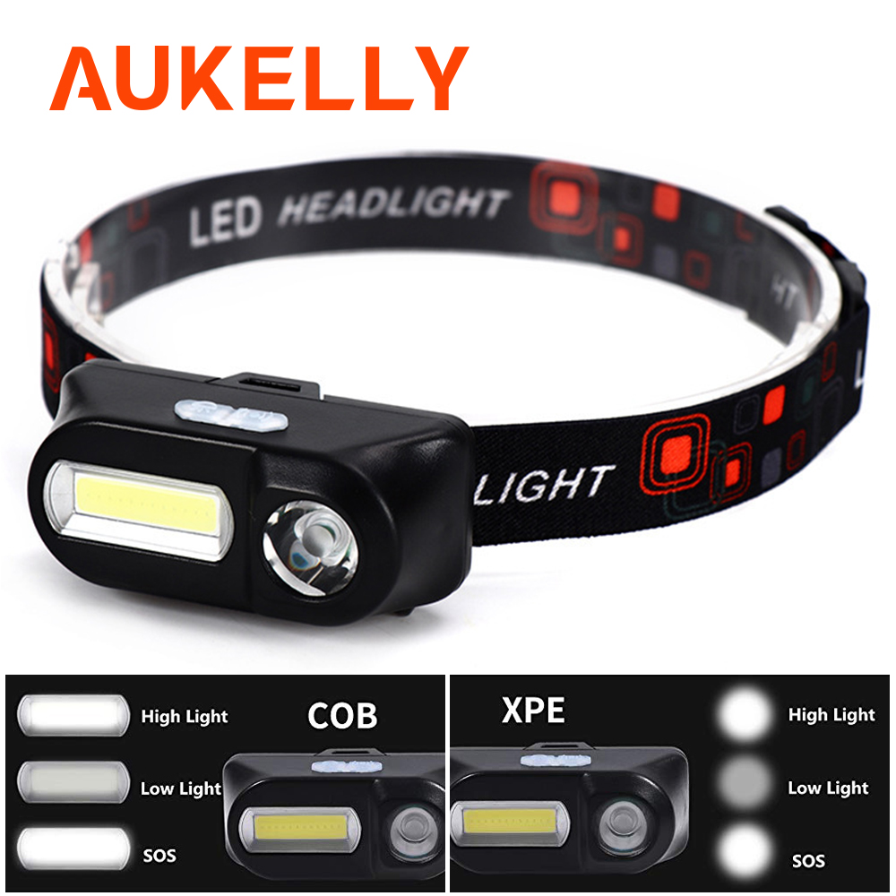 Aukelly Mini COB LED Headlight Headlamp XPE Head Lamp Flashlight USB Rechargeable 18650 Torch Camping Hiking Night Fishing Light