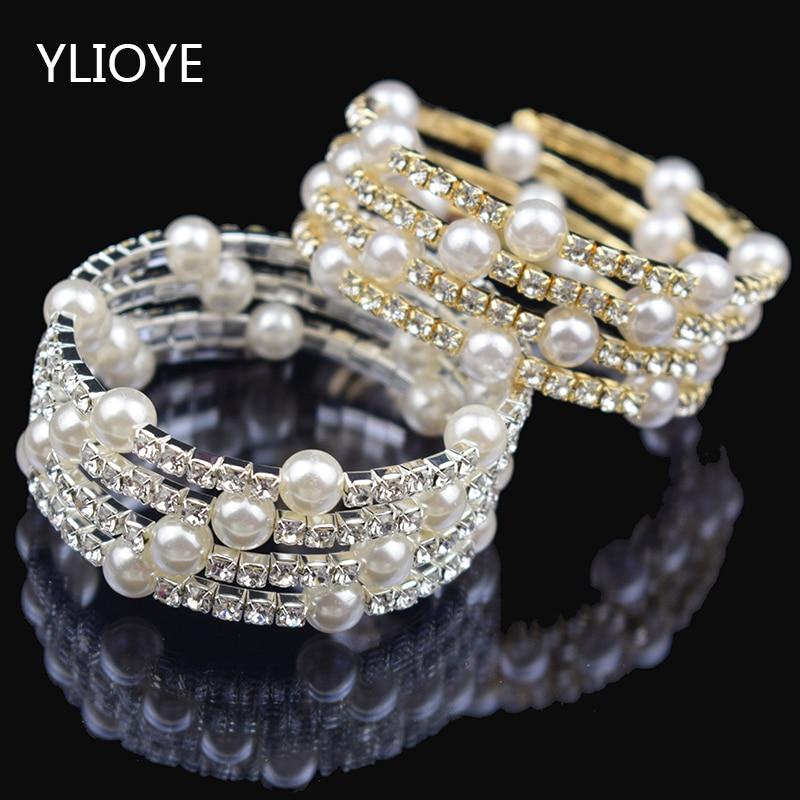 Crystal Imitation Pearl Bracelet Multilayer Stretchable Pearl Bracelet Pearl Bracelet Bridal Jewelry Gift