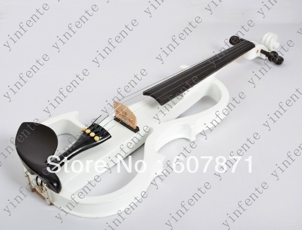 New white   4/4 Electric Violin Solid wood Powerful Sound Big jack Mp3 back Sound 4 4 electric violin solid wood blue color violin case bow powerful sound