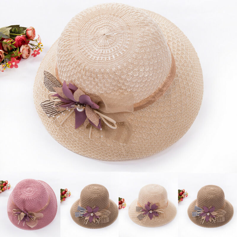 New 2019 Women Summer Big Wide Brim Straw Hat Floppy Derby Beach Cap Panama Ladies Cap Fashion Flowers Handmade Casual Flat Brim