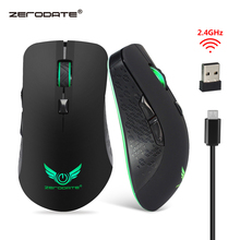 ZERODATE Rechargeable 2400 DPI 2.4G Wireless Portable Mobile Mouse 6-Button Built-in Battery USB Optical mice for PC Laptop