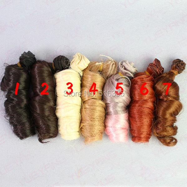 15*100cm 7piece/lot heat resistant blond brown falxen golden dark black curl wave SD wig hair for 1/3 1/4 1/6 BJD doll wig