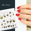 FreeShipping New Design 3D Butterfly Crystal Nail Sticker Rose Stone Nail Decoration Decal for Nails Tips Gold Jewelry for Nails