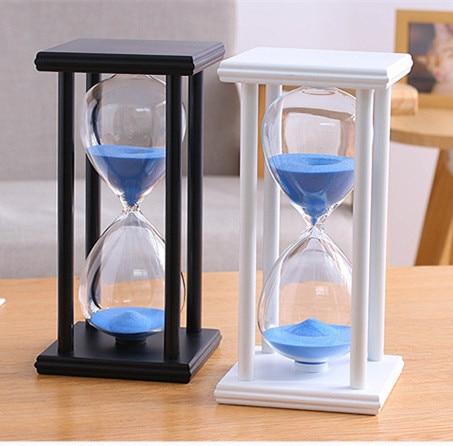 Wooden Frame Glass Hourglass Timer Creative 60 Minutes Sand Timer Clock Decor