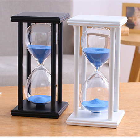 10 Minutes Wooden Frame Sand Timer with Blue Sand Hourglass Home Decor Gift
