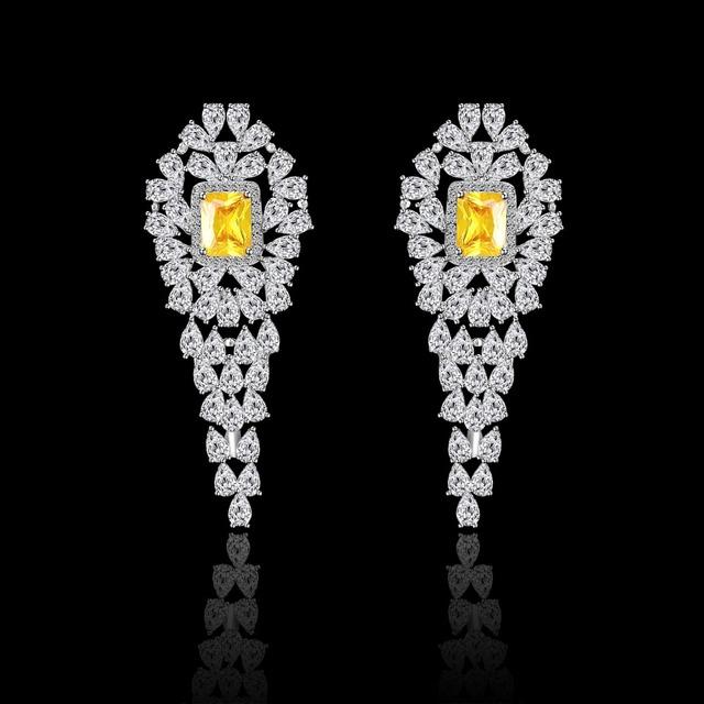 2016 Moda Jóias AAA CZ Brincos de Cristal para As Mulheres Subiu Placa de Ouro Brinco Acessórios Do Casamento de Luxo Festa JJ10381