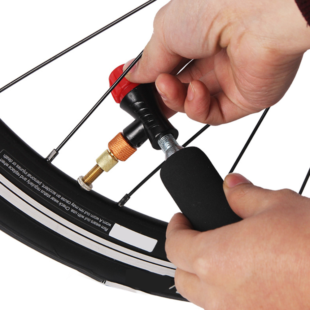 Dual Valve Bike Bicycle Mini Pump with Gauge Portable Air Tire Tube Inflator