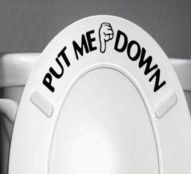 Cute Toilet Wallpaper High Quality Gesture Hand Decal Funny Bathroom Toilet Seat Wall Sticker Sign for PUT ME DOWN PVC Poster