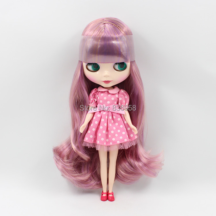 free shipping factory blyth doll BL22407216 PURPLE MIX BROWN HAIR normal regular body gift toy