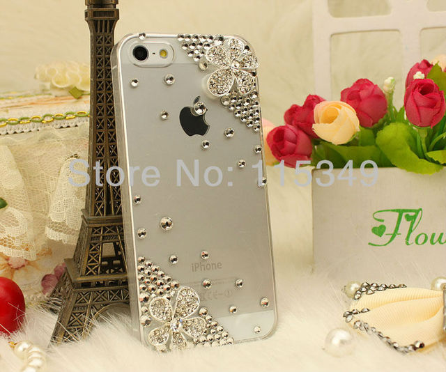 Free Shipping Fashion Crystal flower Case Cover for iPhone 5,iphone4 4 s wholesale