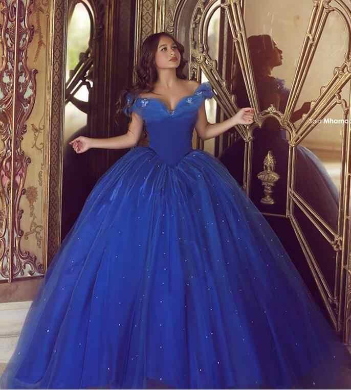 722cc84ee6a Real azul Puffy 2019 barato Quinceañera vestidos vestido de baile fuera del hombro  tul cuentas fiesta