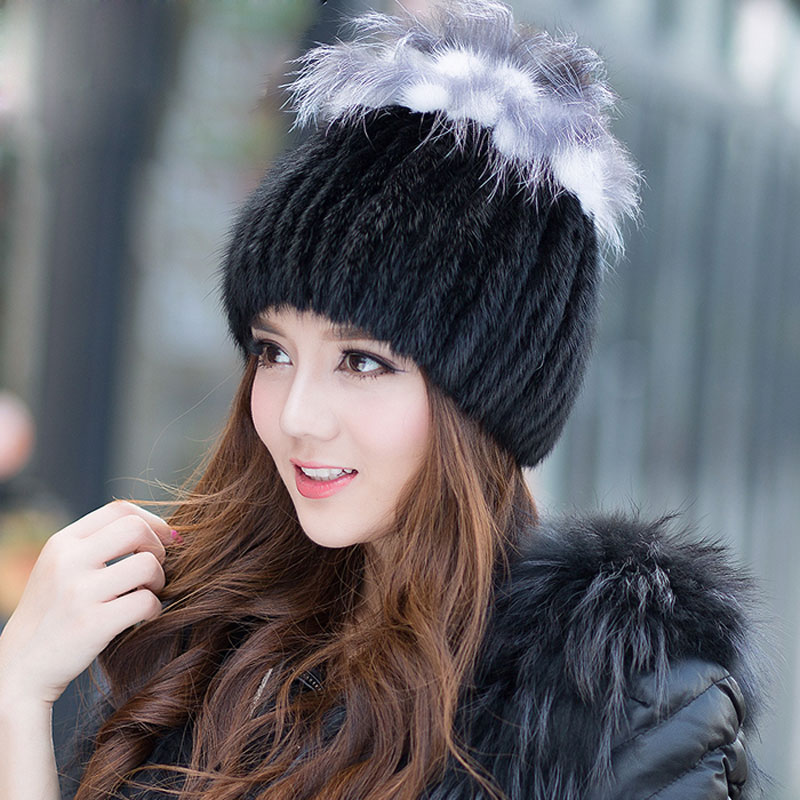 Women Winter Real Fur Beanies Caps Genuine Mink Hat Elastic Handmade Princess Knitted Hat with silver fox tops  Headwear LQ11082