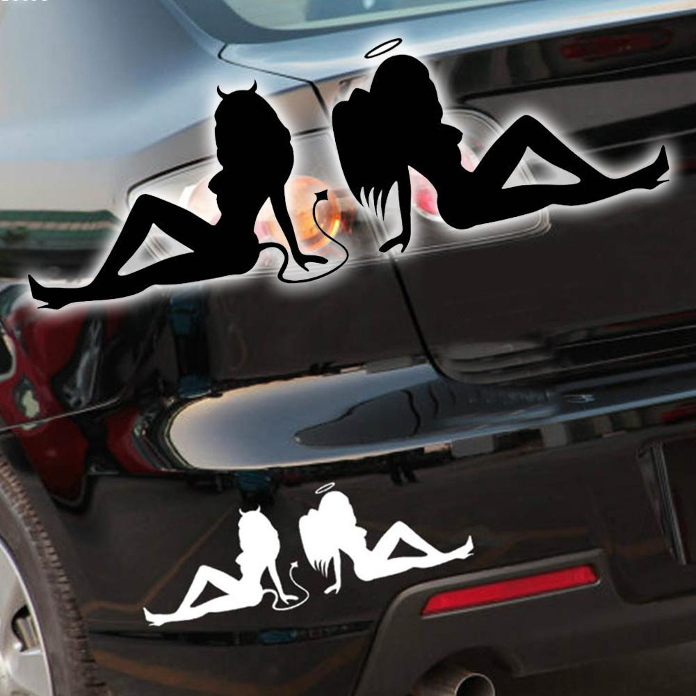 Cool car sticker design - 1pc 20cm 7cm Angel And Devil Car Stickers Super Cool Car Styling Car Accessories Motorcycle