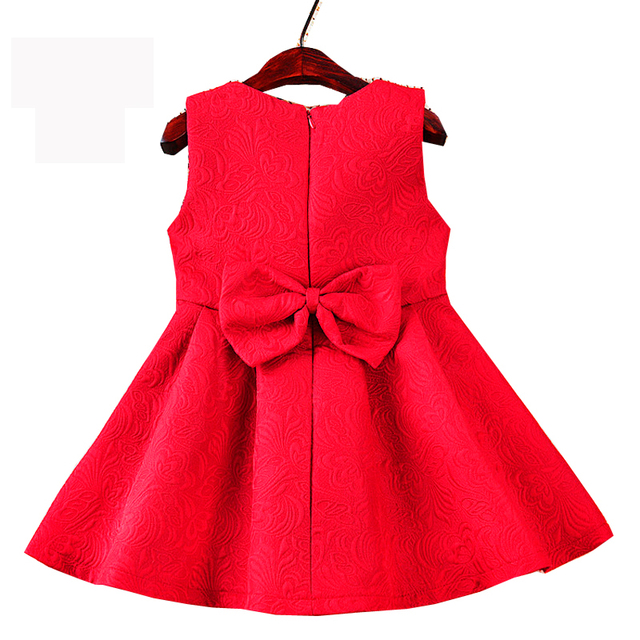 New 2018 Autumn Spring Girls Kids Clothes A-Line Bow Sleeveless Vest Dresses For Girls Baby Red Wedding Party Princess Dress