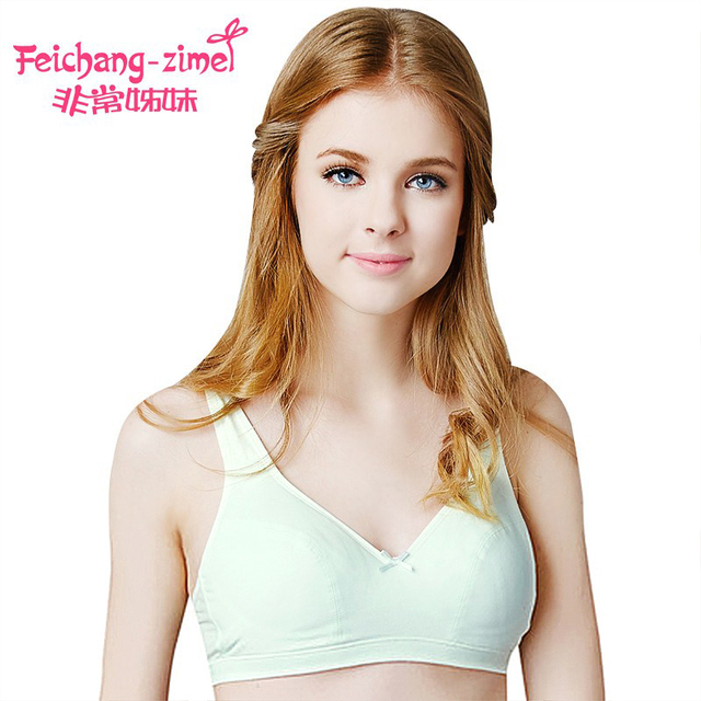 84c2df792736b 2017 Free shipping Feichangzimei Teenage Underwear Green Cotton Solid Training  Bras For 12 Year to 18 Year Old Girls-100922-G