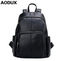 AODUX 2018 Popular Female Fashion Backpack Genuine Cow Leather Large Women's Backpacks Ladies Cowhide Bag Cowhide Girls Rucksack
