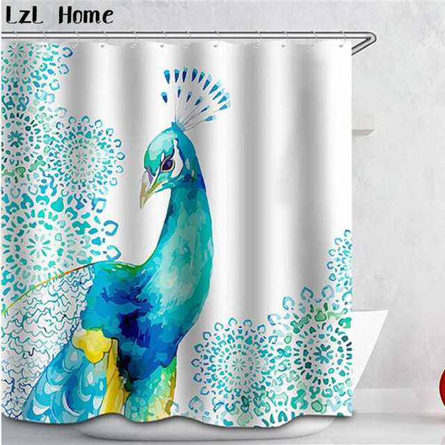 3D Curtains Beautiful Peacock Bird Feathers Shower Curtain Waterproof Fabric Bath For Room
