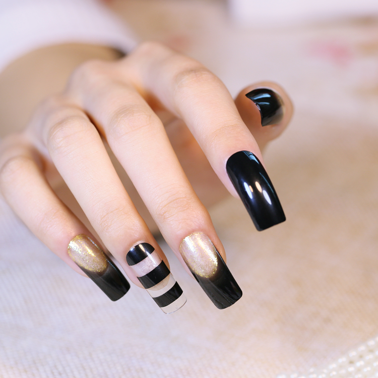 24pcs Hollow acrylic tips Kawaii Fake Nails with Golden Glitter ...