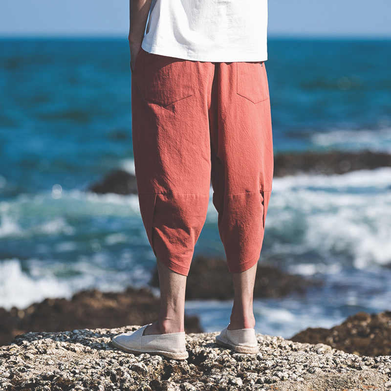 MRDONOO 2018 ฤดูร้อนใหม่ผ้าฝ้ายผ้าลินินผู้ชายสบายๆ Harem กางเกงลูกวัวความยาวกางเกง 5XL sweatpant สไตล์จีนชายกางเกง a119-1977