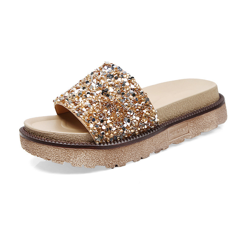 2018 summer new womens shoes word loose cake thick bottom female slippers sequins sandals.