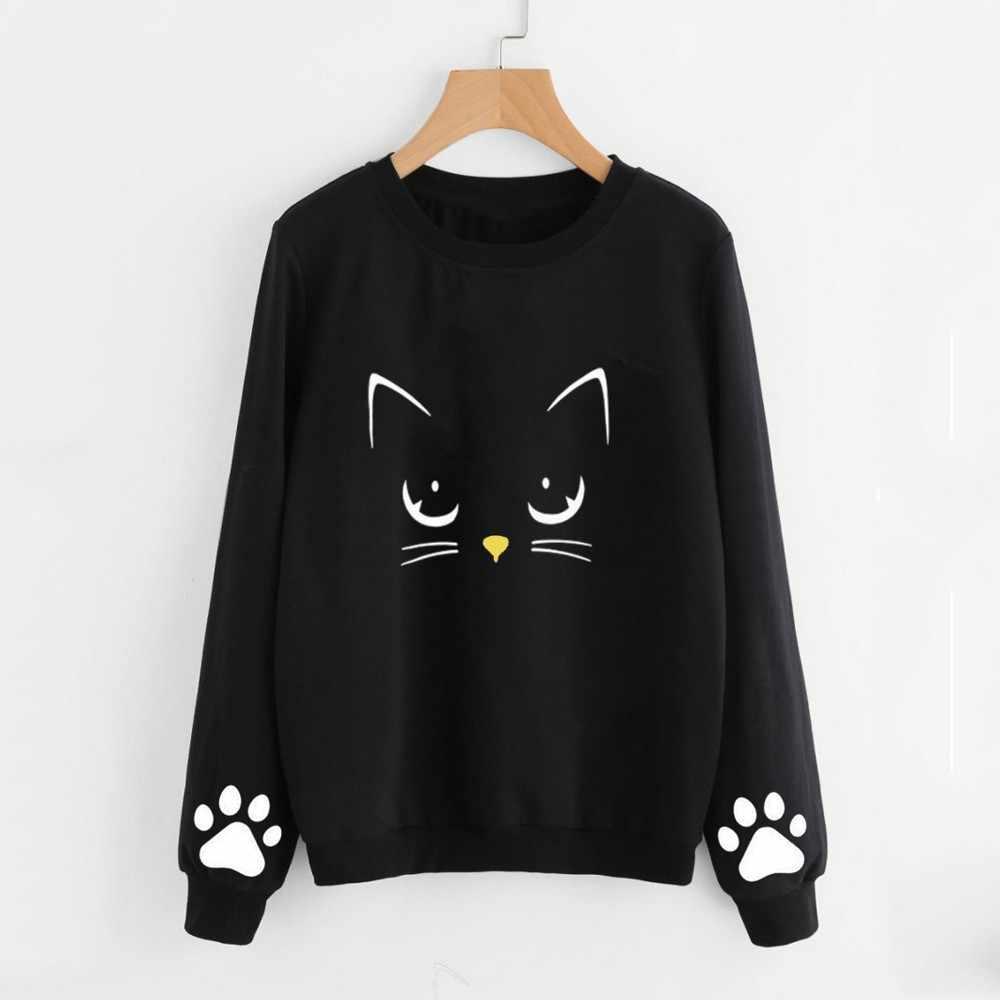 Terbaru Sweatshirt Wanita Musim Gugur dan Musim Dingin Yang Indah Kucing Cetak Round Leher Lengan Panjang Reguler Cropped Hoodie Ukuran Besar Sudadera Muj