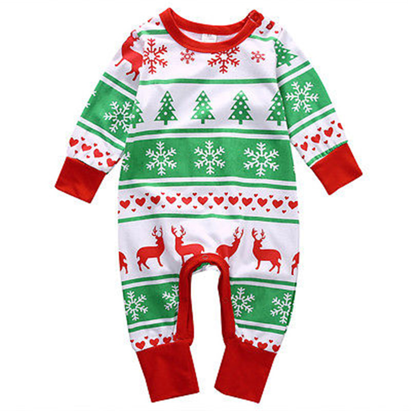 Xmas santa claus toddler newborn baby girl boy deer cotton