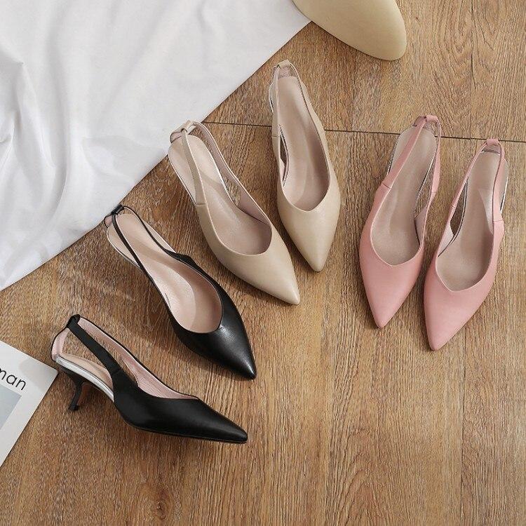 Mljuese 2018 여성 샌들 암소 가죽 핑크 컬러 슬링 백 지적 발가락 여름 샌들 파티 드레스 웨딩 신발 크기 33 43-에서중 힐부터 신발 의  그룹 1