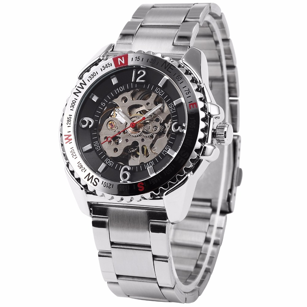 Relojes Male SHENHUA Geared Rotatable Bezel Auto Mechanical Skeleton Stainless Steel Band Men Sport Watch Deportivos