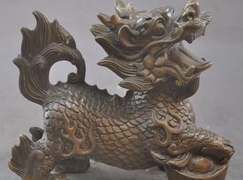 "7""chinese fengshui bronze wealth foo dog Kirin Unicorn Brave troops beast statue"
