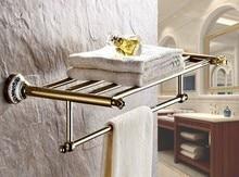 цена на Bathroom Bath Towel Rack Gold Color Brass Quality Wall Mounted Towel Rail Holder Toilet Bar Towel Rack zba256