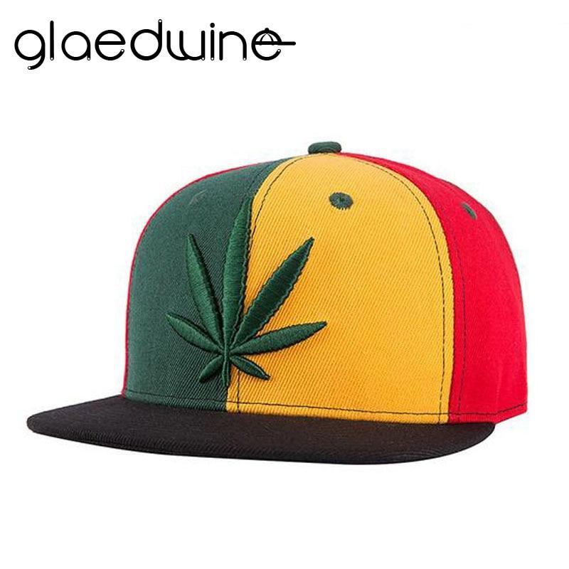 Glaedwine High Quality Justerbar WEED Flat Cap Män Kvinnor Utomhus Sport Street Skateboarding Hat Snapback Gorras Baseball Caps