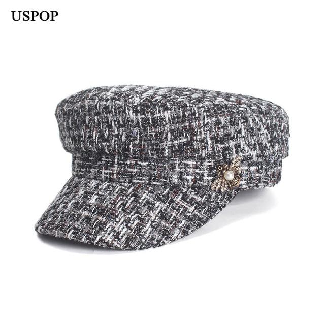USPOP 2019 New women spring hat female plaid tweed newsboy caps bee decoration flat top military caps visor caps