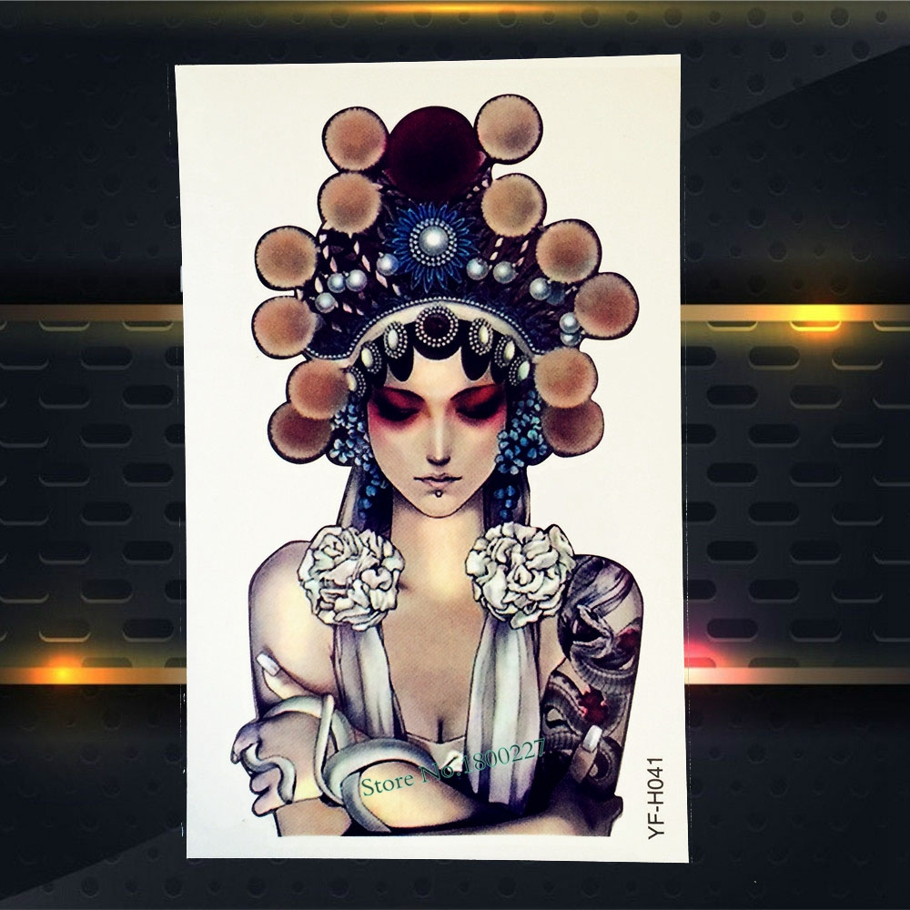 1PC Classic Peking Opera Actress Design Temporary Arm Tattoo Sleeve Sticker For Men Women Body Art Waterproof Fake Tatoo PYFH041